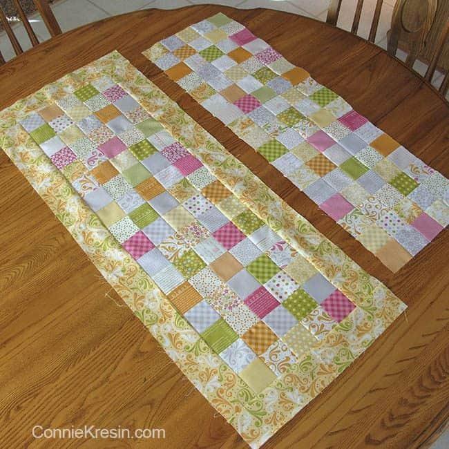 Orange Kissed Tablerunners tutorial fabric piecing the tablerunners