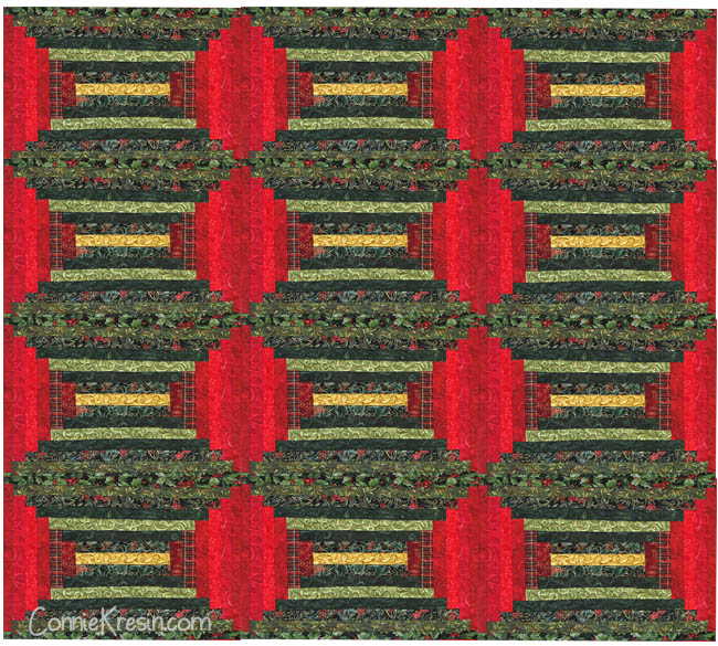 quilted log cabin placemats in a courthouse design as a quilt