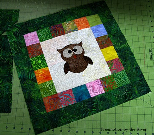 AccuQuilt Tree Owl Pillow tutorial appliqueing the owl