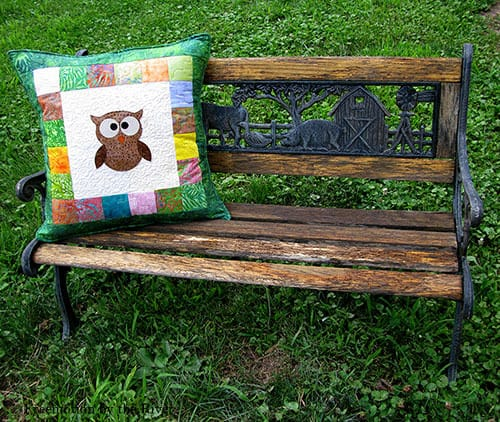 AccuQuilt Tree Owl Pillow tutorial pillow back finished bench