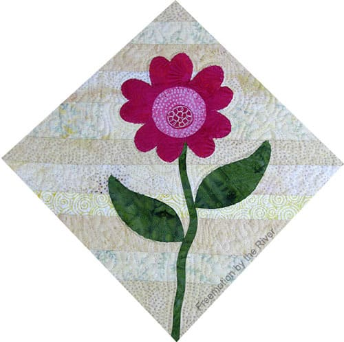 One of the blocks in the Summer Flowers appliqued quilt