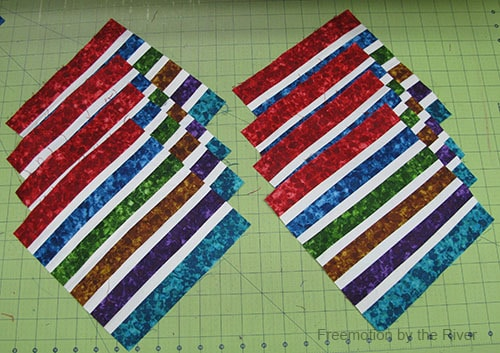Bright Jewel Table Runner Tutorial fabrics sewed together and squared