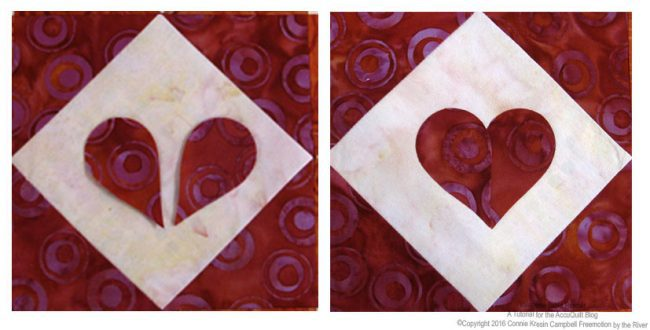 Use 2 feather pieces for each heart. Follow the diagram and overlap them to form the heart. Applique the pieces.