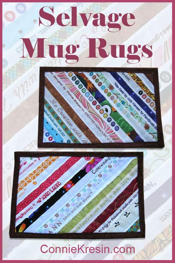 Selvage mug rugs sewn diagonally tutorial use up scraps