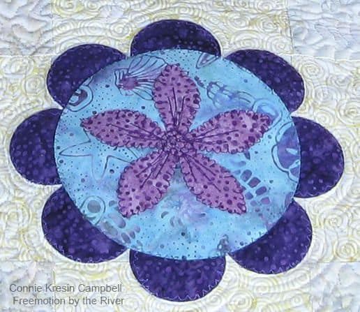 Summer Flower Table Runner Tutorial Closeup applique