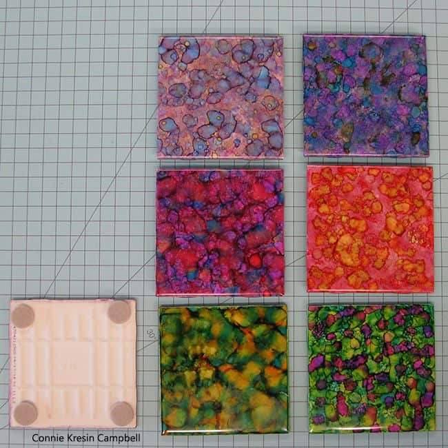 Alcohol Ink tiles and back