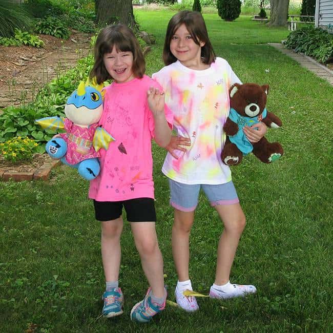 Kids with sewing projects