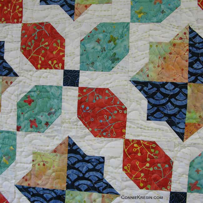 Closeup of morning glory baby quilt