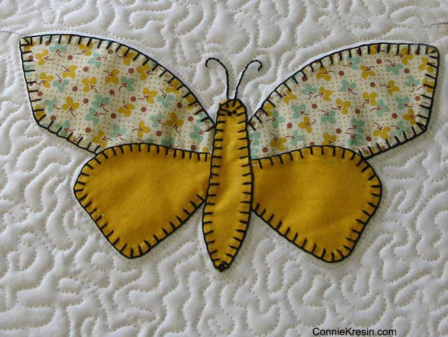 Vintage applique Yellow butterfly