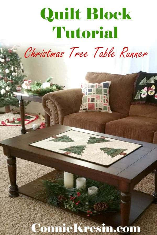Quilt block tutorial for a Christmas tree table runner