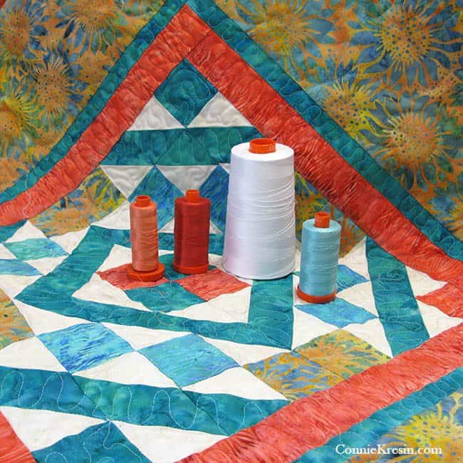 Diamond Maze table topper quilted with Aurifil Threads