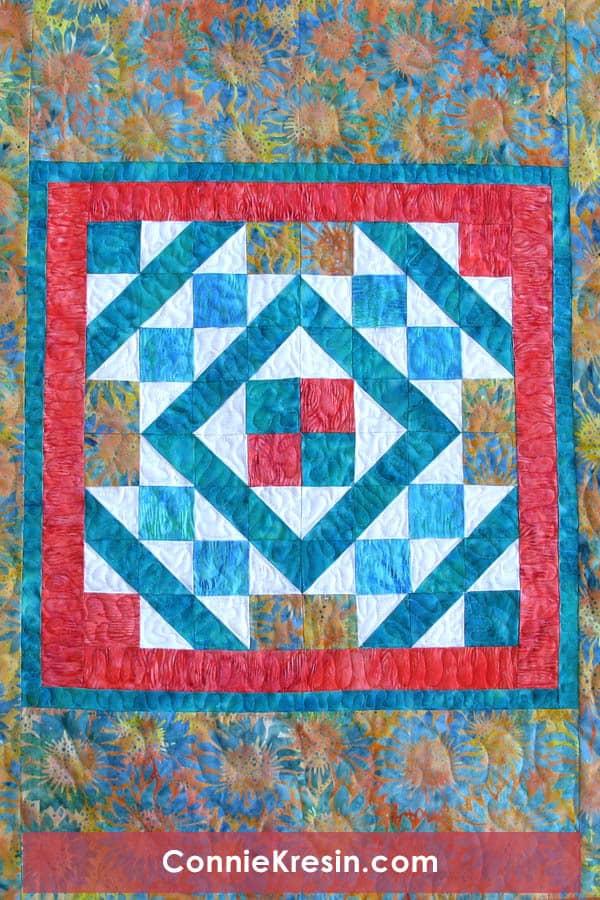 Diamond Maze Quilt Table topper center piece batik