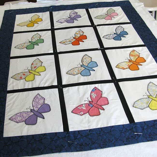 Blue Antique Butterfly applique quilt