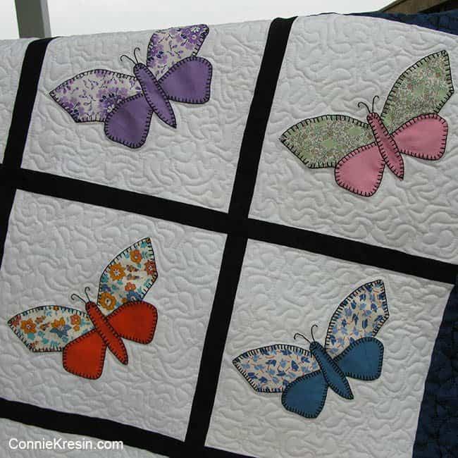 Antique Butterfly applique quilt