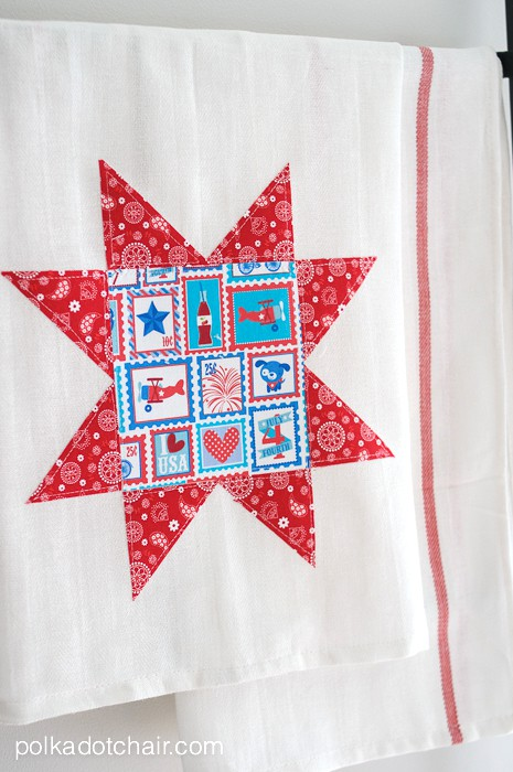 red white and blue DIY dish towels