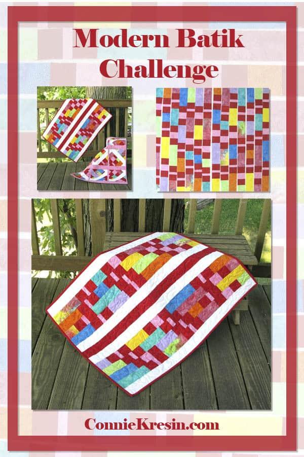 Modern Batik Challenge Baby Quilt width=