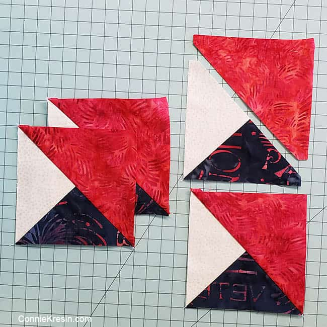 Spinning star quilt block sewing the HSTs and Quarter Square sew 4