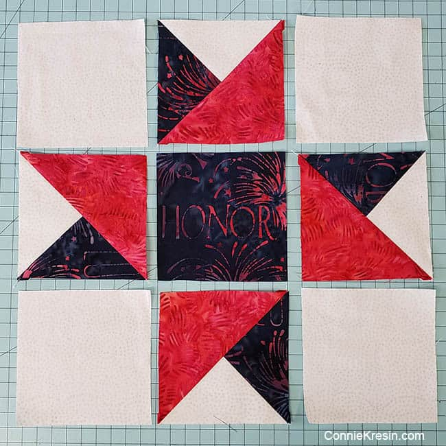 Spinning star quilt block lay out block pieces