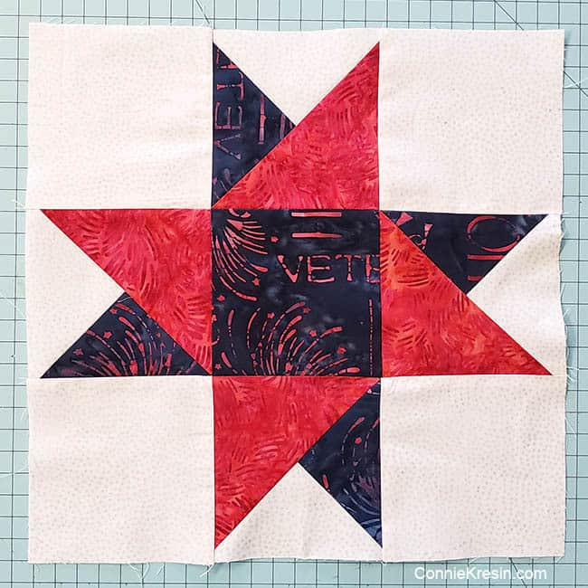 Spinning star quilt block finished