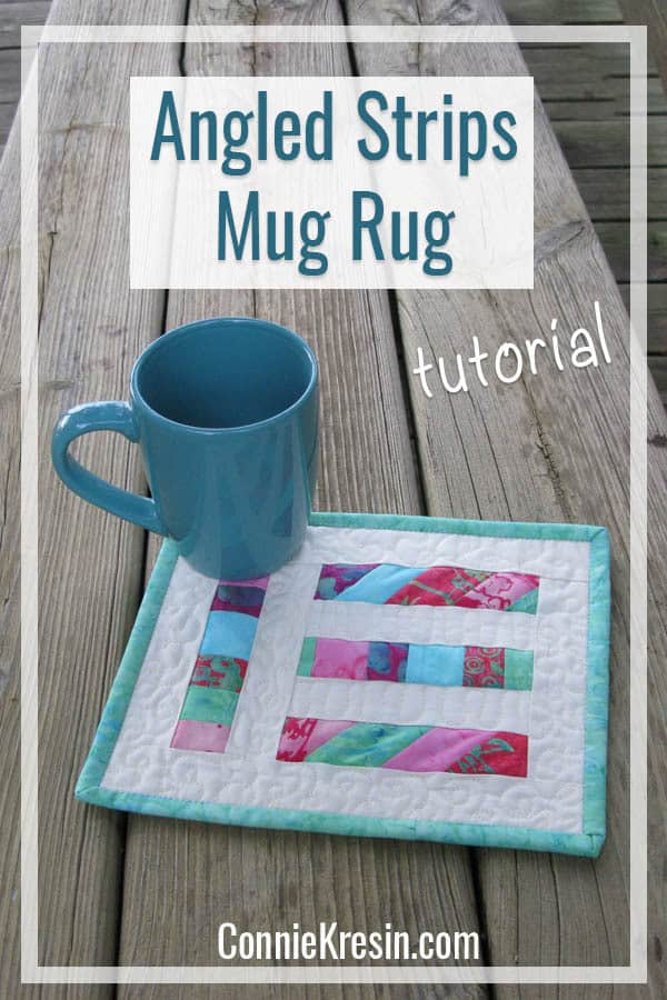 Strip Angle mug rug tutorial is fast and easy to make from your quilt scraps