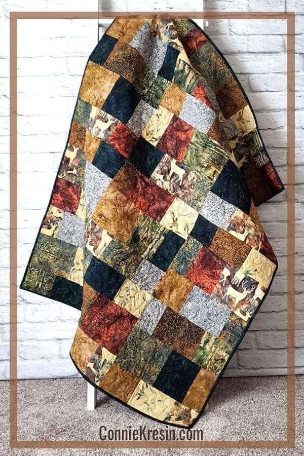 Quilt made with Elk Lodge batik fabrics