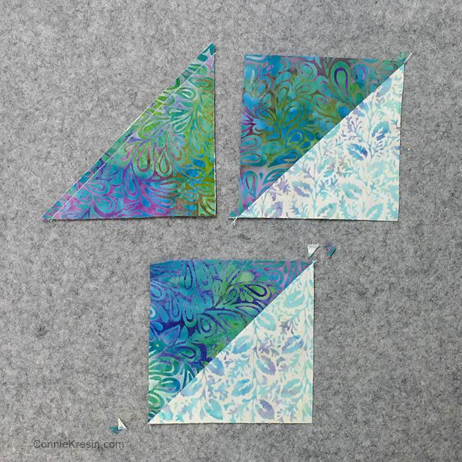 Churn Dash quilt block placemats tutorial half square triangles