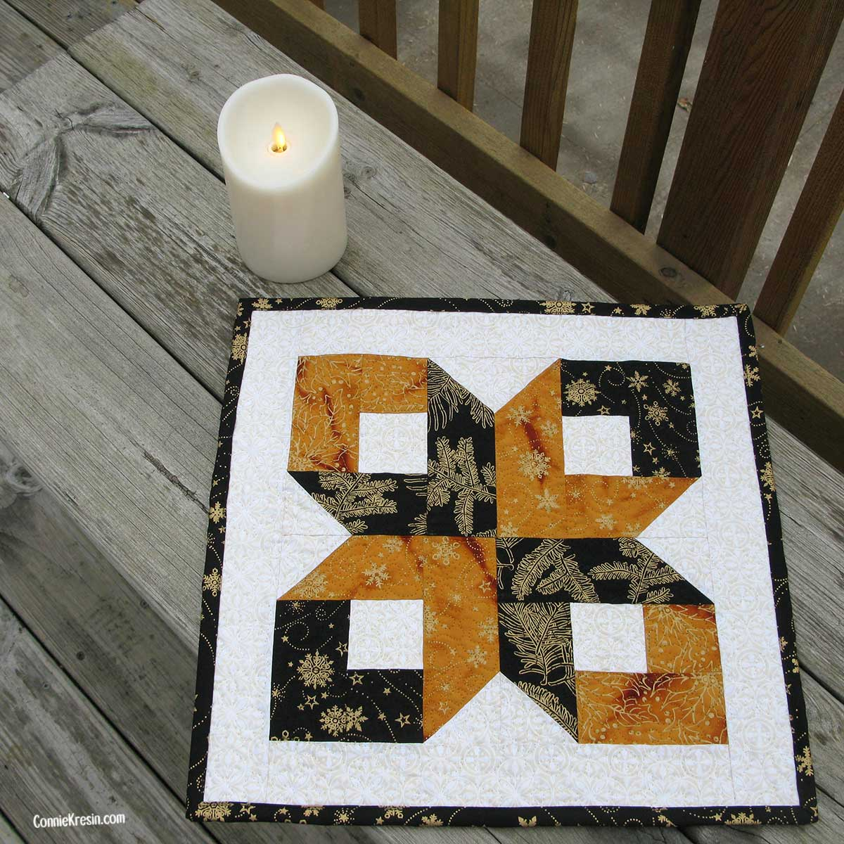 Silent Night Center piece made with the Box quilt block