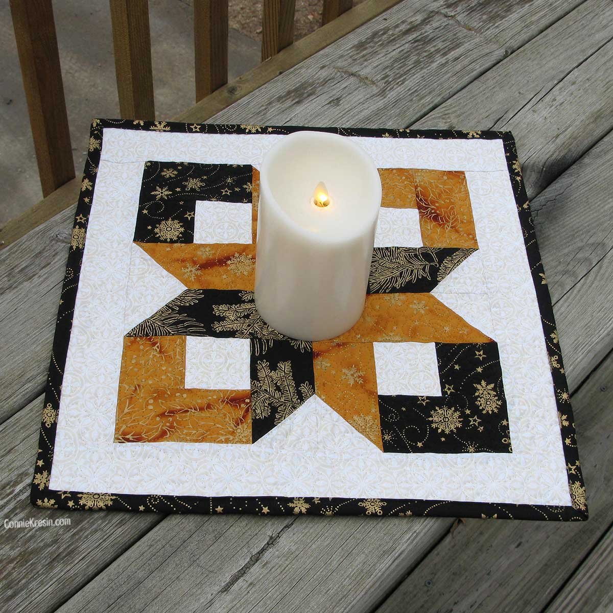 Box Quilt block Silent Night table topper or center piece on deck