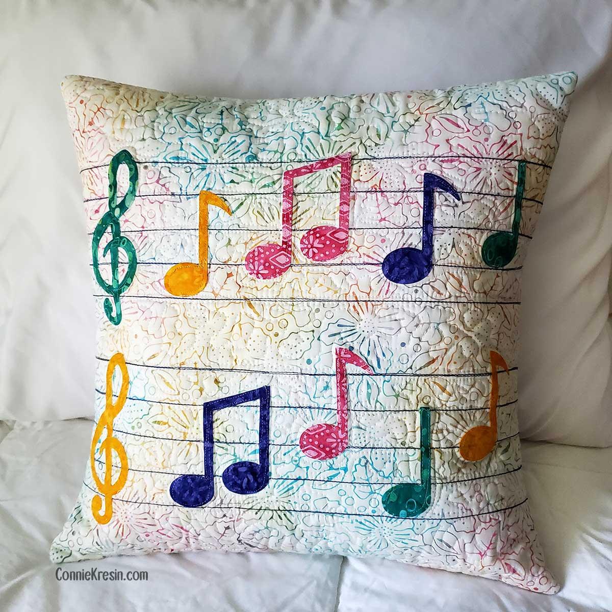 Musical Notes Applique Pillow Tutorial