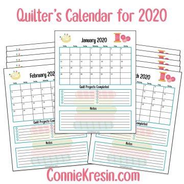 2020 Quilters Calendar