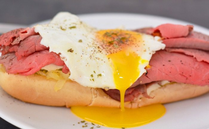 Roast Beef Sandwich with Egg and Hashbrowns