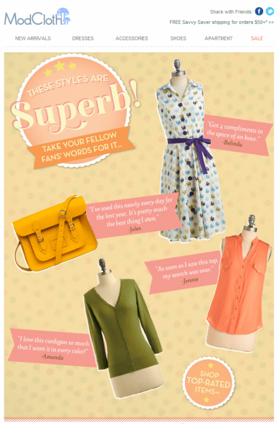 ModCloth promotional compelling sales email
