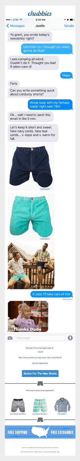 chubbies promotional email showing how to write a compelling sales email