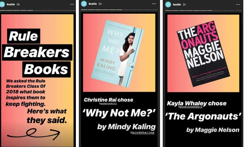 Bustle uses Instagram stories to share its latest posts with followers
