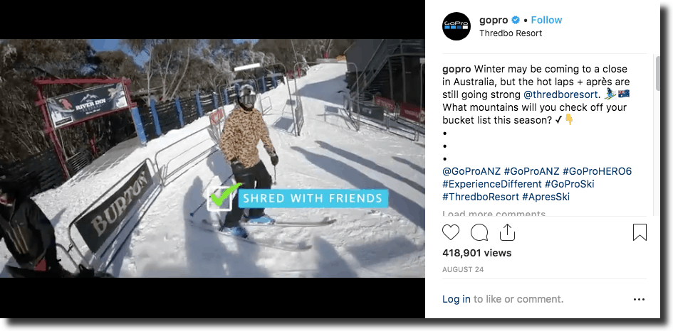 GoPro, an action camera, uses mentions and their own hashtags in their videos