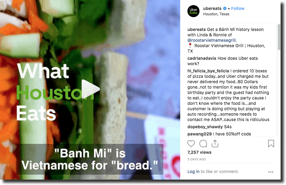 UberEats, a food delivery service, shares their story in under 25 seconds Instagram video marketing