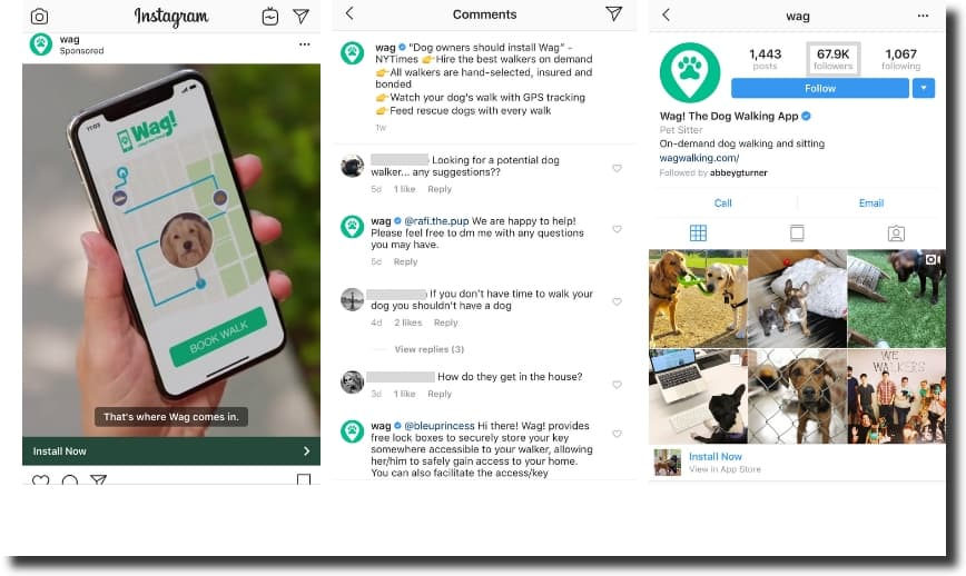 best videos for Instagram post by Wag, a successful dog walking startup, sponsored post in action