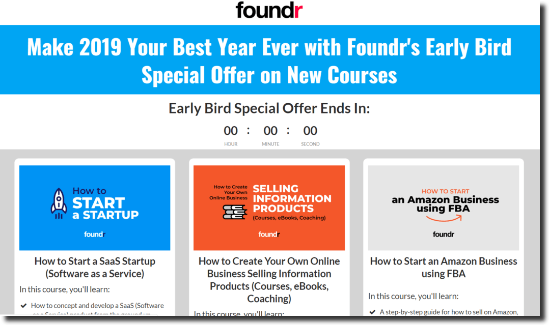 Foundr course validation landing page