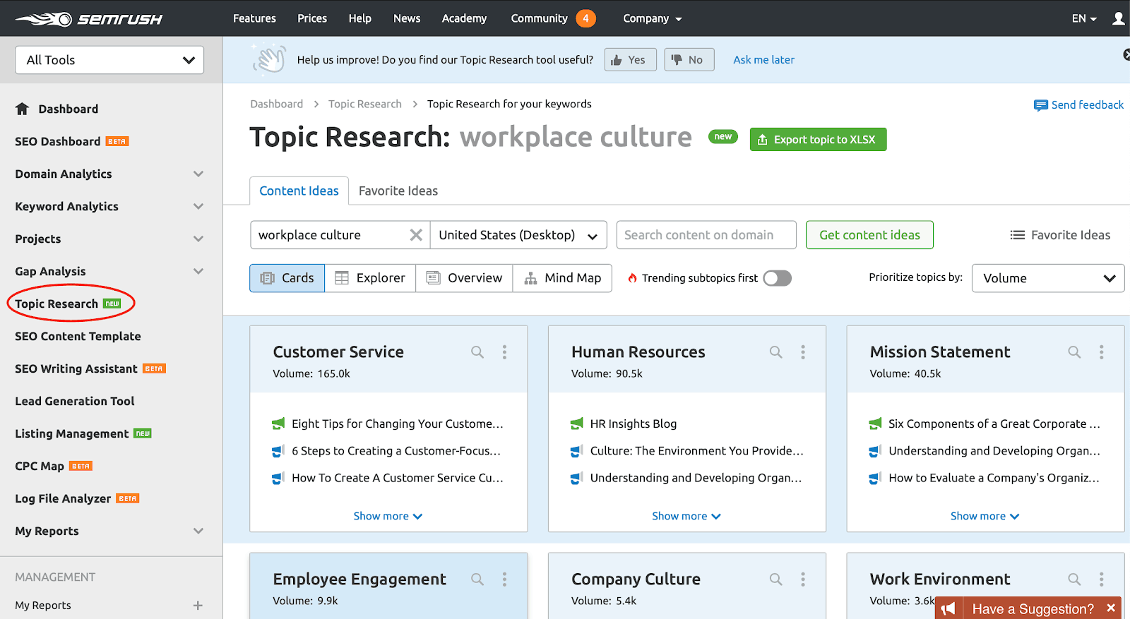 semrush topic research for Guest posting