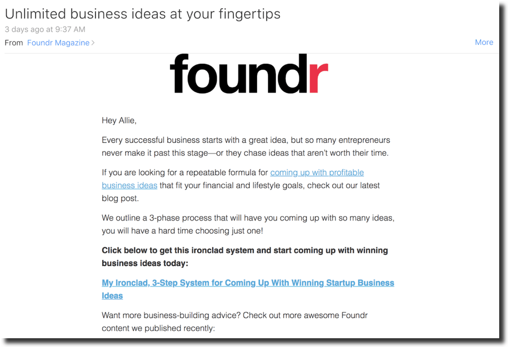 Foundr course promoting email copywriting example