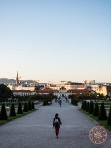 lower belvedere palace at sunset