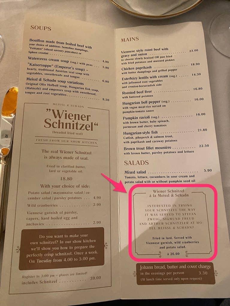 meissl and schadn schnitzel menu sigmund freud