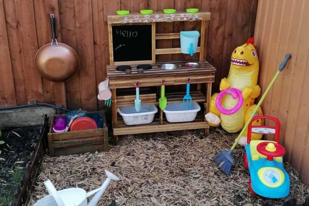 An outdoor mud kitchen for kids