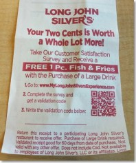 receipt of long john silvers restaurant