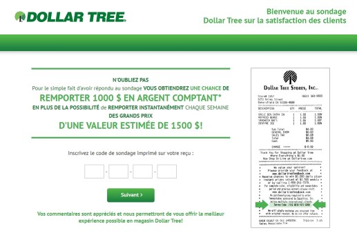 dollar tree homepage in francais