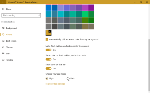 Select Colors from the left pane