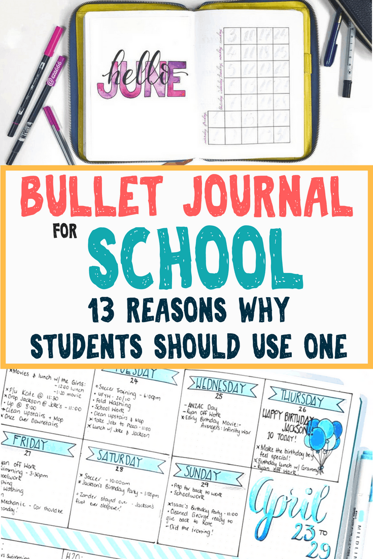 Bullet journal for school- 13 reasons a student should use a bujo for a planner. Learn various bullet journal layout ideas for school to help with organization, time management, and productivity. Study hard and take notes with the aid of a bullet journal to help improve grades and school performance. Learn how to start a bullet journal for school and various bullet journal spreads to help plan for the best school year ever!