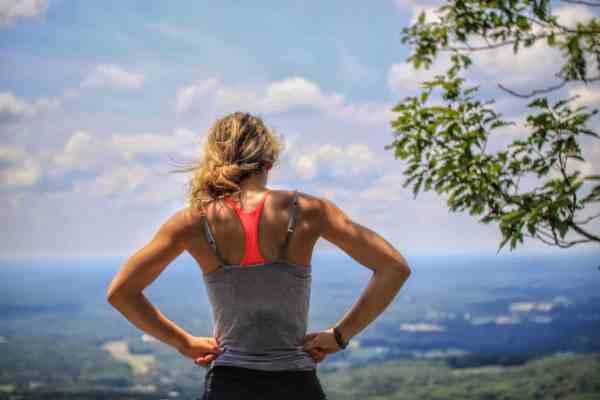Exercising woman taking a break