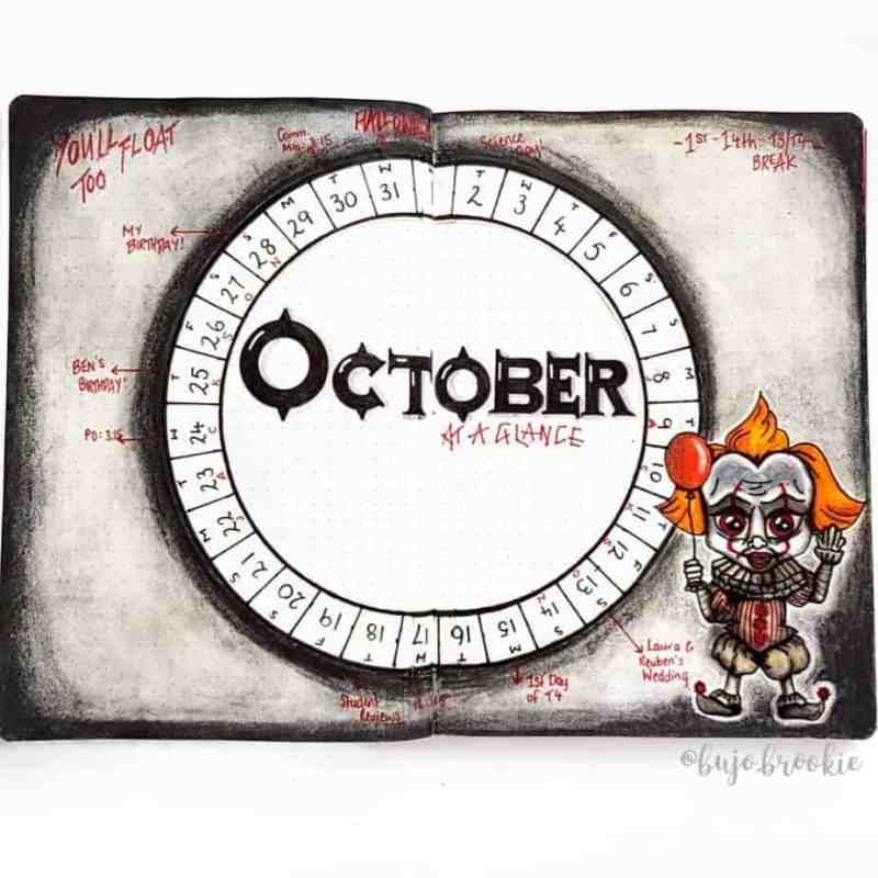 Bullet journal monthly calendar with chucky theme