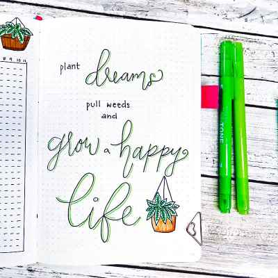 bullet journal quote plant dreams, pull weeds, and grow a happy life